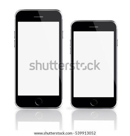 Mobile smart phones with white screen isolated on white background. 3D illustration.
