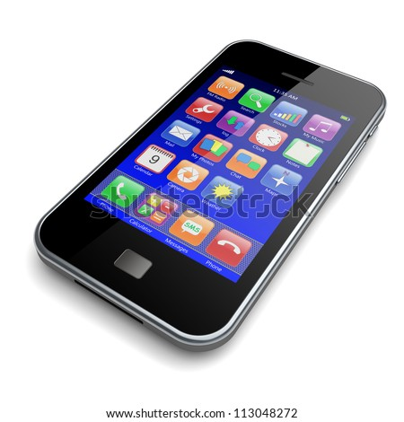 Mobile smartphone with blue screen and colorful apps. 3d image