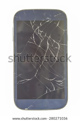 mobile smartphone with broken screen and dust, isolated on white background.