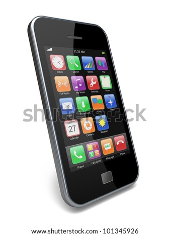 Mobile smartphone with touchscreen and colorful apps . 3d image