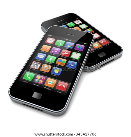 Mobile smartphones with black screen and colorful apps. 3d image