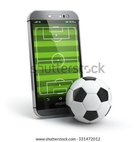 Mobile soccer. Football field on the smartphone screen and ball. Online ticket sales concept. 3d - stock photo