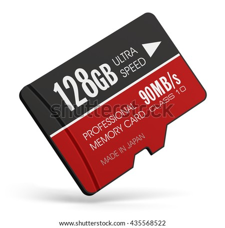 Mobile technology and data storage industry business concept: 3D illustration of high speed 128 GB Class 10 professional MicroSD flash memory card for usage in smartphones isolated on white background - stock photo
