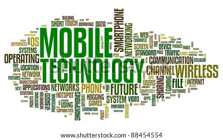 Mobile technology concept in tag cloud on white - stock photo