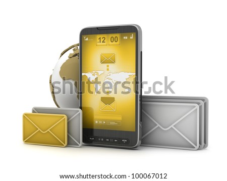 Mobile technology - internet on cell phone - stock photo
