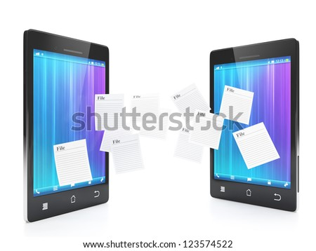 Mobile technology. Transferring files between phones