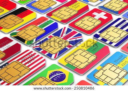 Mobile telecommunication, wireless technology, mobility communication internet concept: group of color SIM cards for mobile phone or smartphone with international world state flags isolated on white - stock photo