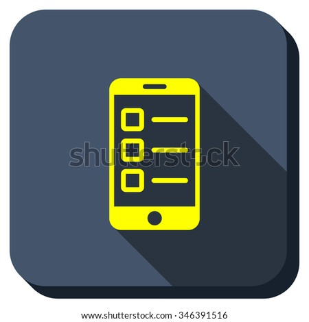 Mobile Test glyph icon. Style is square rounded button, glyph symbol with longshadow, white background. - stock photo