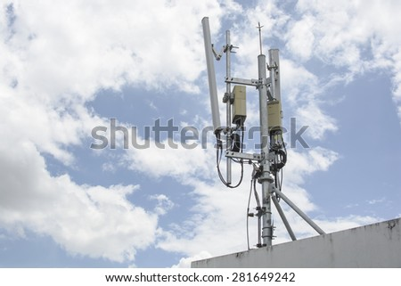 mobile transmitter antenna - stock photo