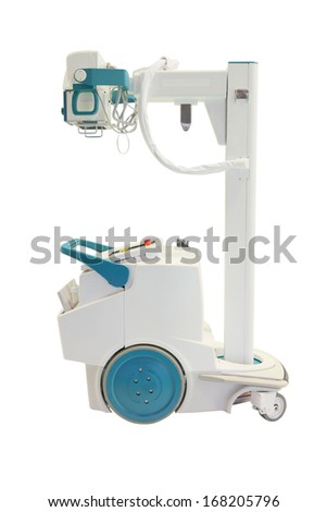 mobile x-ray machine under the white background - stock photo