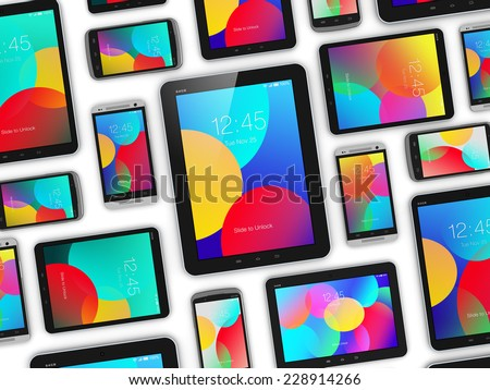 Mobility and digital wireless communication technology business concept: group of tablet computer PC and smartphones or mobile phones with color screen interface isolated on white background - stock photo