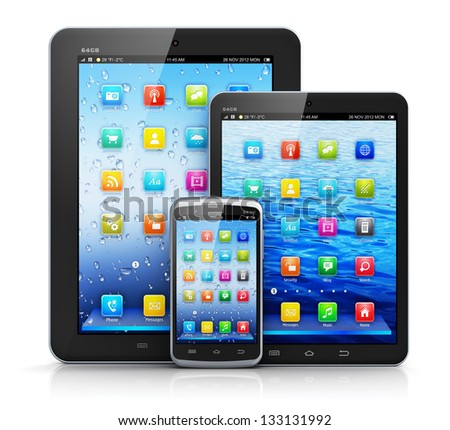 Mobility and modern telecommunication concept: standard tablet computer, mini version of tablet PC and touchscreen smartphone with color interface isolated on white background with reflection effect - stock photo