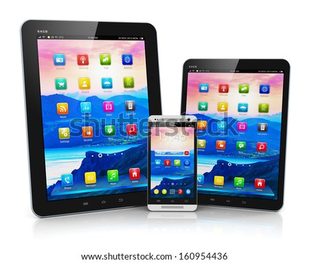 Mobility and modern telecommunication technology business concept: tablet computer, mini tablet PC and metal black glossy touchscreen smartphone with colorful interface isolated on white background - stock photo
