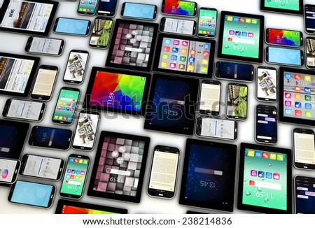 Mobility and modern wireless telecommunication technology concept: collection of tablet computer PC and metal black glossy touchscreen smartphones with colorful interfaces on the screen  - stock photo