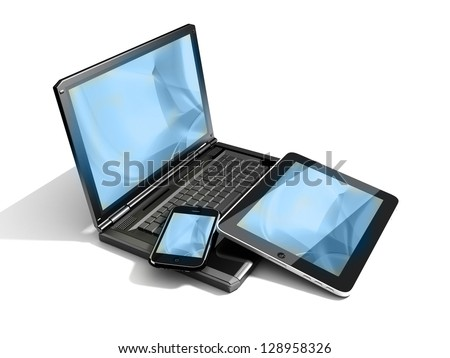 Mobility devices - blue wave background - stock photo
