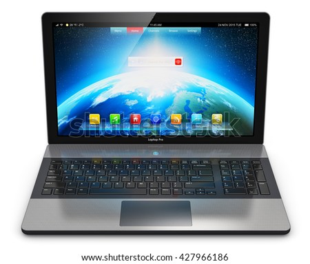 Mobility PC computer web technology and internet communication concept: 3D render of business laptop or office notebook with screen interface with application icons and app buttons isolated on white - stock photo