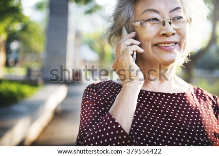 Mobility Senior Adult Online Calling Concept - stock photo