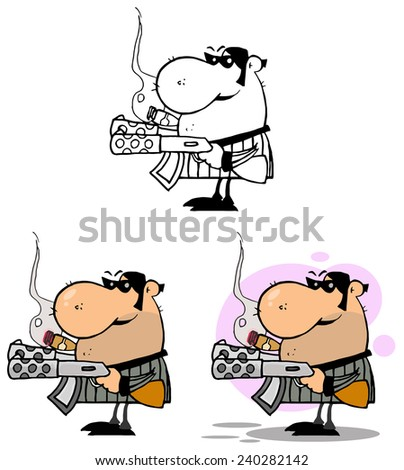 Mobster Holding Two Machine Guns And Smoking A Cigar. Raster Collection Set - stock photo