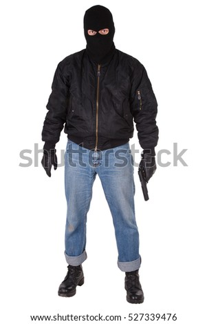 mobster with handgun isolated on white background