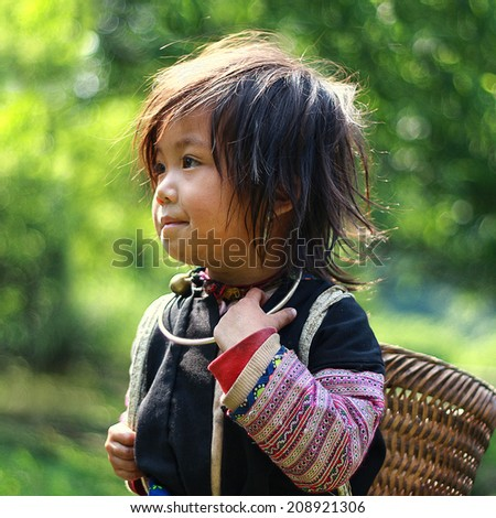 Moc Chau, Son La, Vietnam, April 17, 2013: Hmong unidentified ethnic child in traditional costume.