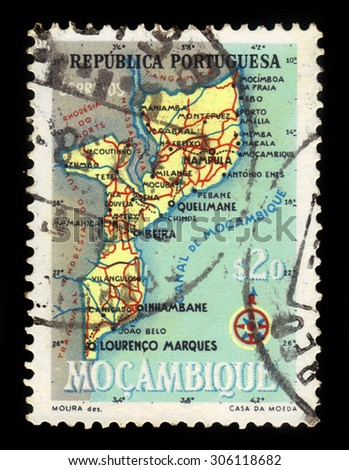 Mocambique - CIRCA 1954: a stamp printed in Portugal shows map of Mocambique, series, circa 1954 - stock photo