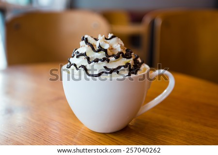 Mocha coffee with whipped cream  - stock photo