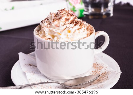 Mocha Coffee with whipped cream.  Cup of Coffee