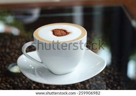 Mocha in white coffee cup in the Coffee Shop - stock photo