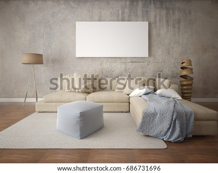 Mock Up A Stylish Living Room With Light Beige Sofa On The Hipster Background