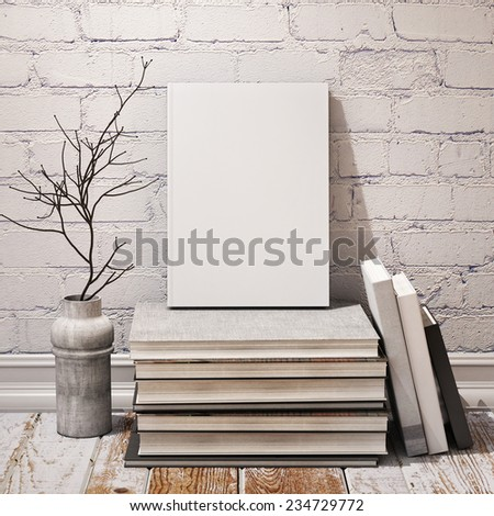 mock up blank book, in hipster vintage loft interior background, 3D render - stock photo