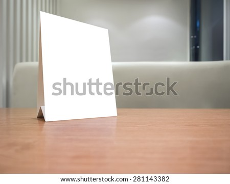 Mock Up Blank Menu Frame On Table Counter In Restaurant Cafe