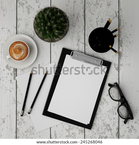 mock up clipboard with interior background, 3D render - stock photo