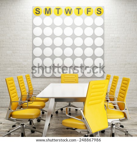 Mock up conference room, calendar on white brick wall - stock photo
