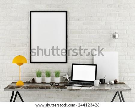 Mock up desk office, 3d illustration - stock photo