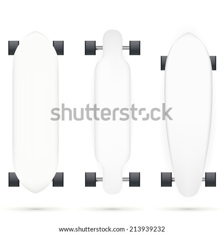 Mock-up for longboards. Mock up for white longboards with black wheels. Three isolated illustrations on white. - stock photo
