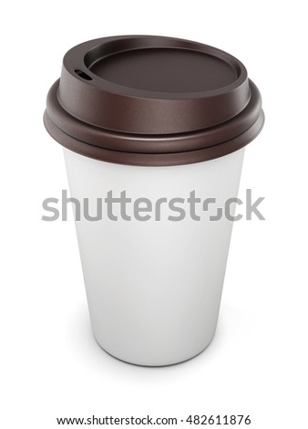 Mock up for your design disposable cups for coffee with lid on white background. 3d rendering.