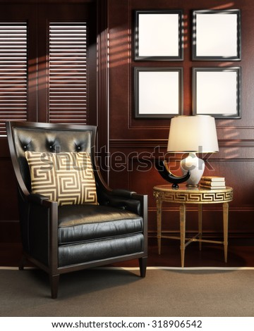 Mock up in classy upscale room or office space. Photo realistic 3d render with room for text or copy space. - stock photo