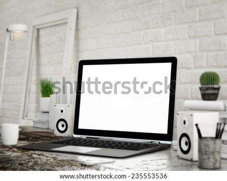 Mock UP laptop, white room background - stock photo