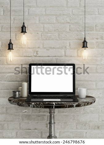 Mock up laptop, work station, 3d illustration - stock photo