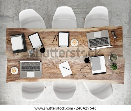mock up meeting conference table with office accessories and laptop computers, hipster interior background, 3D render - stock photo