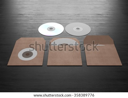 Mock up of cardboard packaging for a compact disk on a black wooden background. 3d rendering. - stock photo