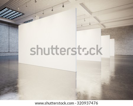 Mock up of empty gallery interior with white canvas and bricks. 3d render