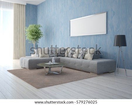 Mock Fashionable Living Room On Background Stock Illustration ...