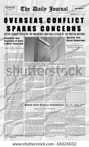 Mock up of vintage newspaper using fake latin [Crinkled Copy]