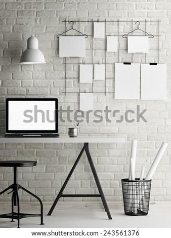 Mock up office, loft background, 3d illustration - stock photo