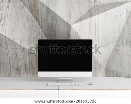 Mock up PC Screen,  concrete abstract wall background, 3d illustration - stock photo