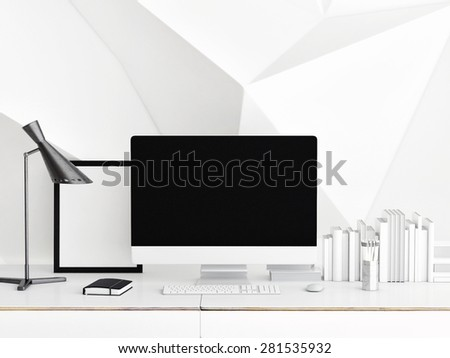 Mock up PC Screen, white  abstract wall  background, 3d illustration  - stock photo
