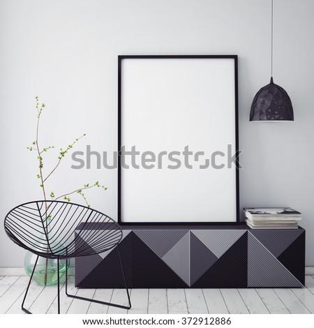 mock up poster frame in hipster interior background,christamas decoration, 3D render - stock photo