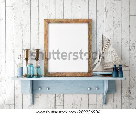 mock up poster frame in summer concept interior background, 3D render - stock photo