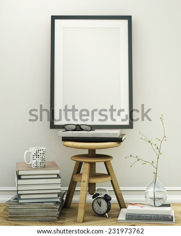 mock up poster frame with interior background, 3D render - stock photo